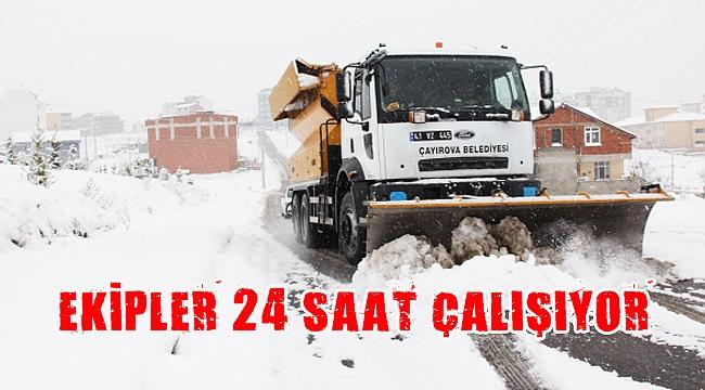 Çayırova Belediyesi karla mücadeleye devam ediyor