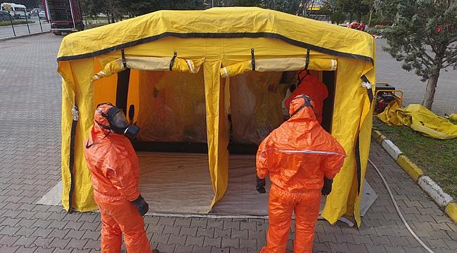 Gönüllü itfaiyecilere kimyasal eğitimi