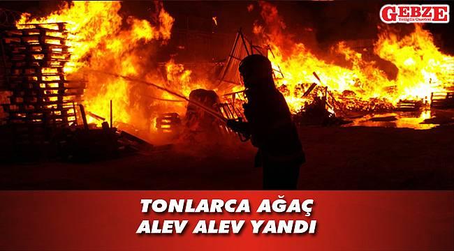 Gebze'de palet fabrikasında büyük yangın