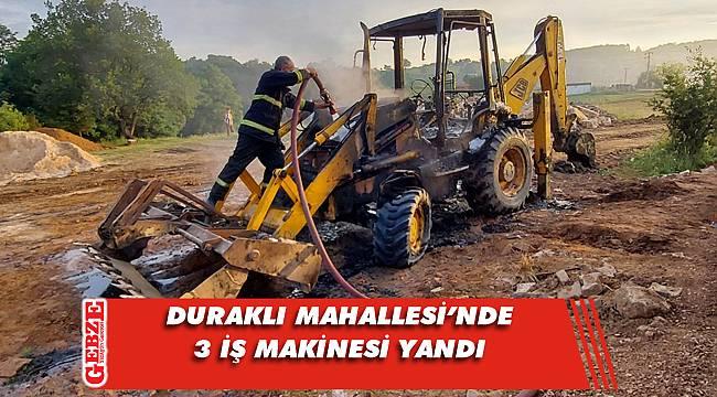 Gebze'de 3 iş makinesi yandı