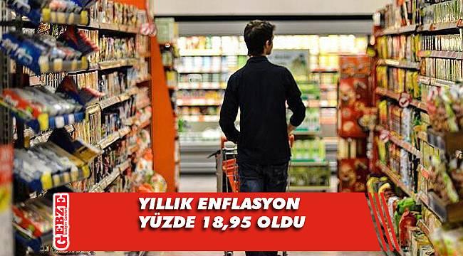 Yıllık enflasyon yüzde 18,95 oldu